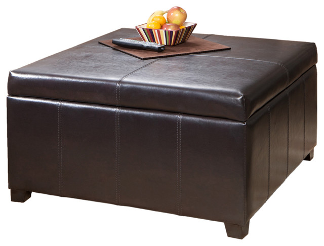 Berkeley Espresso Leather Storage Ottoman Coffee Table Contemporary