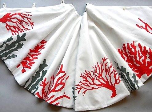 Holiday red coral christmas tree skirt tropical christmas tree