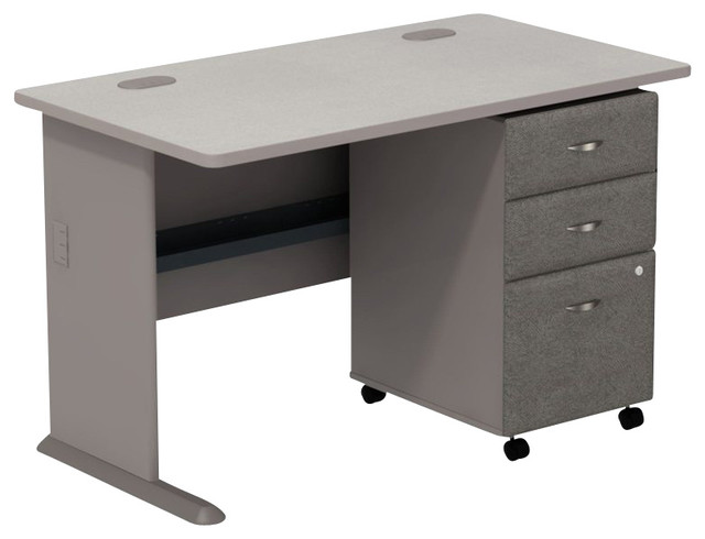 "Bush Series A 48"" Computer Desk with 3-Drawer File Cabinet in Pewter - Transitional - Desks - by ..."