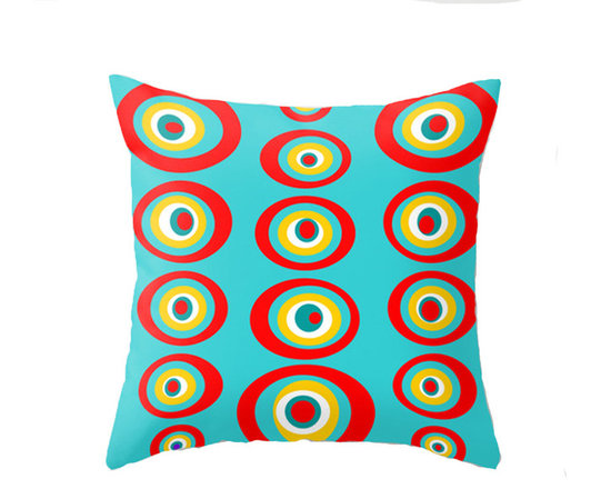 Crash Pad Designs - Turquoise Throw Pillow, Modern Throw Pillow by Crash Pad Designs - A fun pillow can change an entire room. Style your room with this modern turquoise throw pillow. On a sofa, a chair, or bed it's sure to make you smile. Double sided print pillow, made from 100% spun polyester poplin fabric w/ a hidden zipper closure & a polyester fill insert. Original Crash Pad Designs fabric.