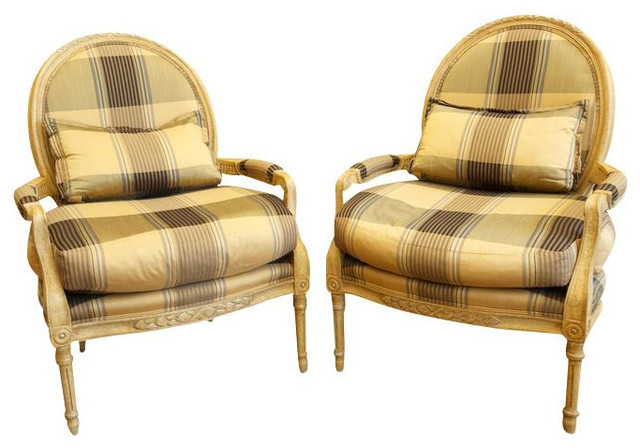 marge carson plaid louis chairs in black and gold 6 540 est retail 1 960. Black Bedroom Furniture Sets. Home Design Ideas