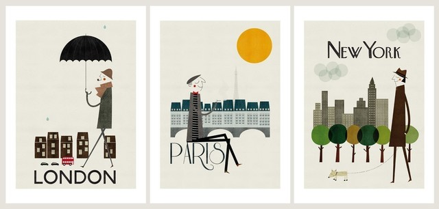 Cities Set of Three Prints contemporary-artwork