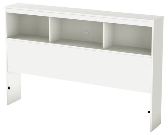 South Shore - South Shore Affinato Full Bookcase Headboard in Pure White Finish - South Shore - Headboards - 3260093 - With its pure white finish and sleek, simple lines, the South Shore Affinato Bookcase Headboard will enhance any kids bedroom. Available in Full size, this headboard features three open shelves and a wire management hole in the back. Add contemporary charm to your kid's bedroom with the Affinato Bookcase Headboard.