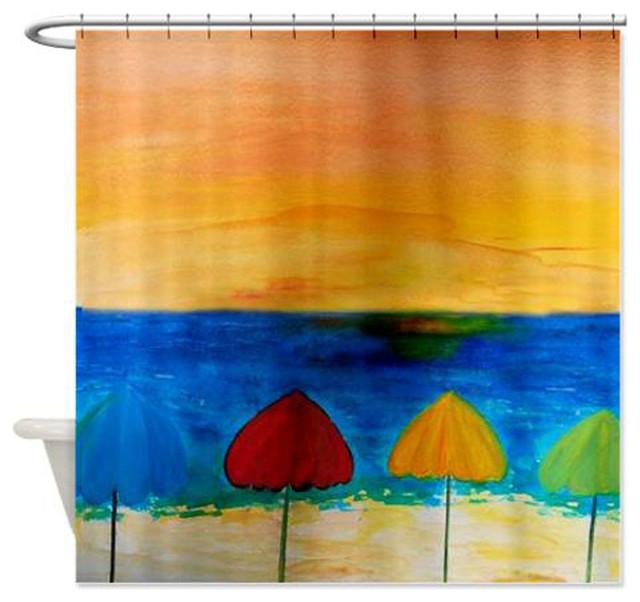 beach umbrellas shower curtain beach style shower curtains by