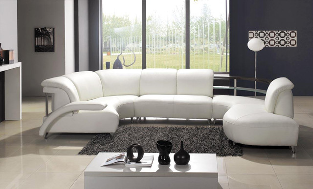 Ultra modern u shaped white leather sectional sofa for Ultra modern living room furniture