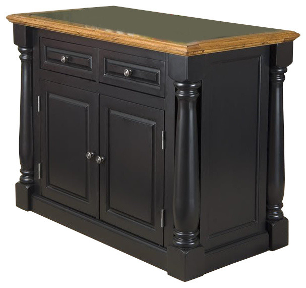 Home Styles Monarch Roll-Out Leg Granite Top Kitchen Island in Black and Oak transitional-kitchen-islands-and-kitchen-carts