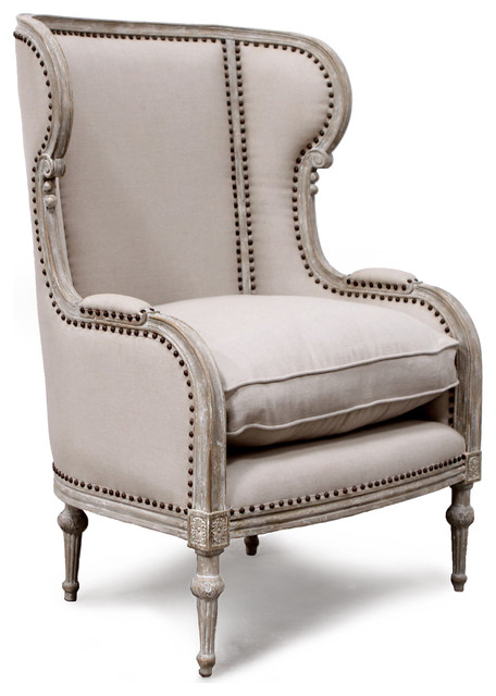 French Country Borges Taupe Wing Chair Transitional