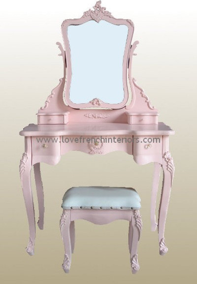 Rose Pink French Dressing Table Mirror And Stool
