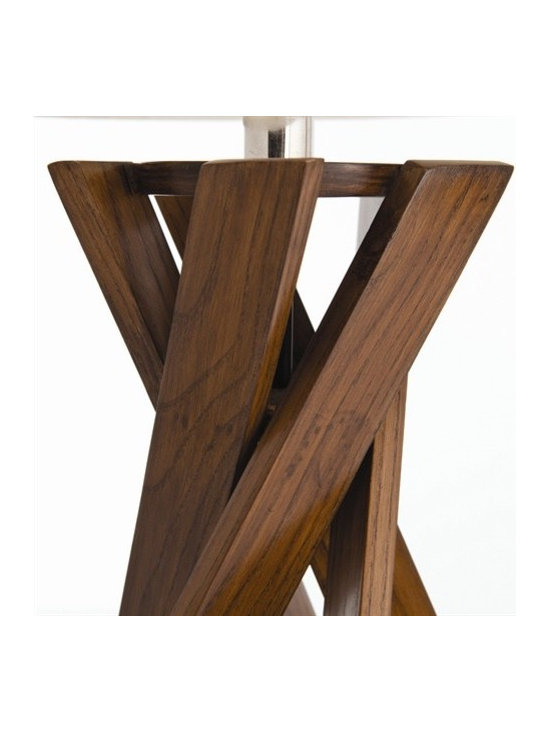 Arteriors Wellington Walnut Finish Wood Slat Lamp - Off-White Linen Shade/Off-White Cotton Lining