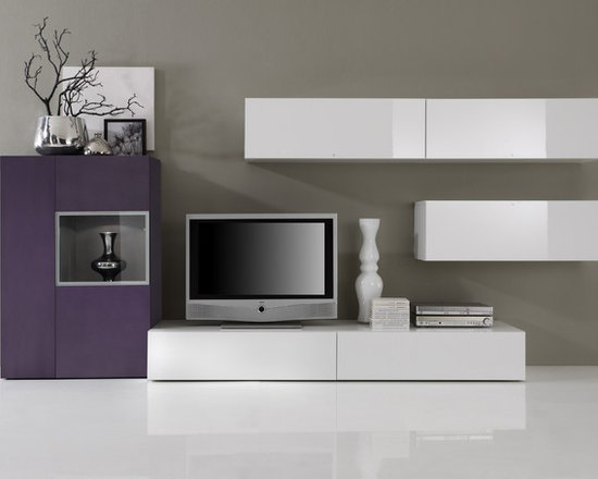 Modern Wall Unit TV Media Entertainment Center Jetset-305 - $3,250.00 - Modern Wall Unit TV Media Entertainment Center Jetset-305 is made in Italy by LC Mobili. Please contact our office about details on customization of this wall unit.