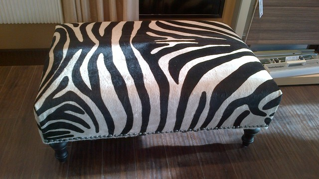 Zebra hair on cow hide ottoman modern footstools and ottomans