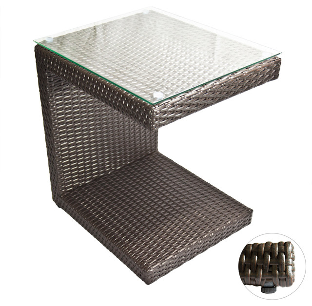 Outdoor Lounge Tables Zuma Wicker Side Table Espresso
