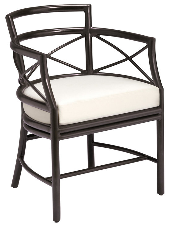 Gondola Garden Chair: GA-184 - McGuire's original Gondola Chair was designed by Elinor McGuire and handcrafted and finished by skilled artisans in the McGuire tradition. Inspired by Venetian gondolas, this unique design features curved arms that cut away to straight legs joined by three braces. The sides and back are highlighted by X-braces. Executed in tubular aluminum tubing, the chair and matching settee are lightweight and durable. Come standard in Bronze or Seashell White finishes, as well as Cayenne - inspired by the warm hues of the Golden Gate Bridge.