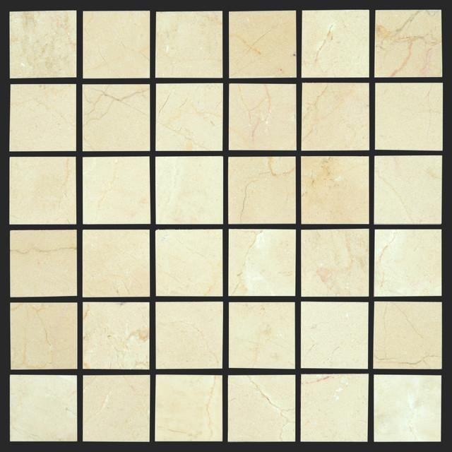 Crema Marfil Marble Tile 2x2 Marble Mosaic modern-floor-tiles