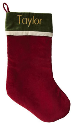Red Stocking with Green Cuff, Monogrammed traditional-christmas-stockings-and-holders