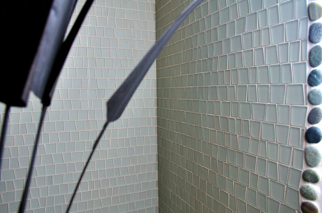 Island Stone Artifact Glass shower with Pebble Tile shower pan eclectic-tile