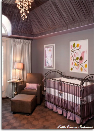 Lavender and Gray Girls Nursery traditional kids