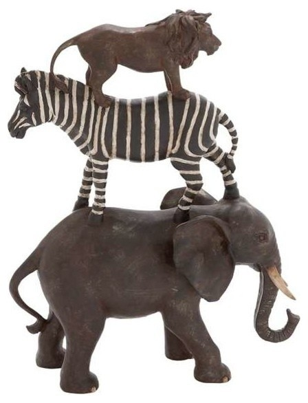 Poly stone african animals stack of elephant zebra and African elephant home decor