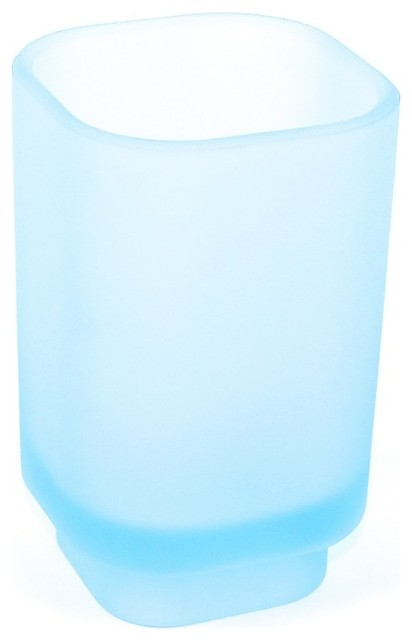 Free Standing Sky Blue Frosted Glass Tumbler, Satin Sky Blue contemporary-bathroom-accessories