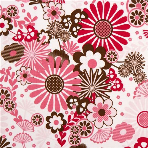 white Riley Blake fabric with pink & brown flowers - Fabric - by ModeS Group Ltd