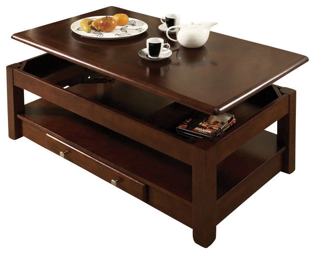 Steve Silver Nelson 48x26 Lift Top Cocktail Table In Dark Cherry Contemporary Coffee Tables
