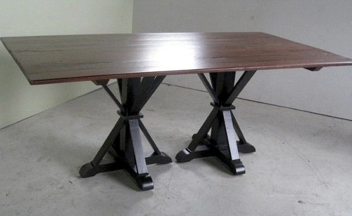 Double Pedestal Farm Table With 2 Extensions Farmhouse Dining Tables bo