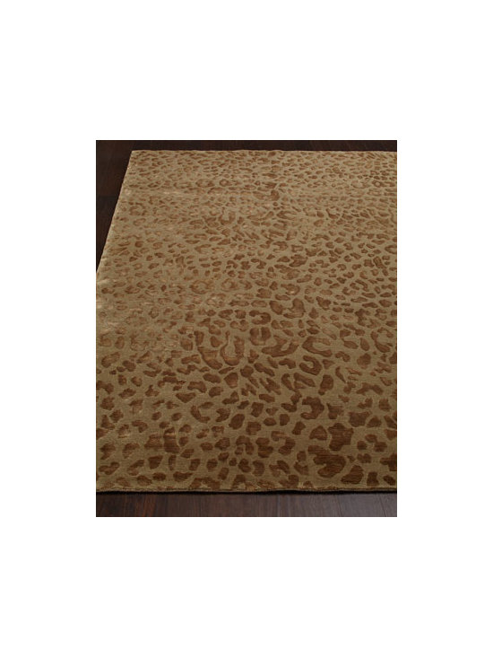 "Horchow - ""Cloud Leopard"" Rug - Trendy and chic, this traditional animal-print rug takes on new allure with the addition of ""artificial silk"" highlights. Hand knotted of wool and ""artificial silk"" (viscose). Sizes are approximate. Imported. See our Rug Guide for tips on how to..."