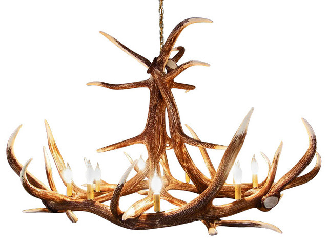 Rustic Elk 6 Antler Chandelier with 9 Candle Lights