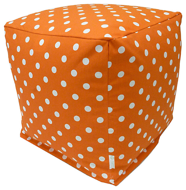 Indoor Tangerine Small Polka Dot Small Cube modern-footstools-and-ottomans
