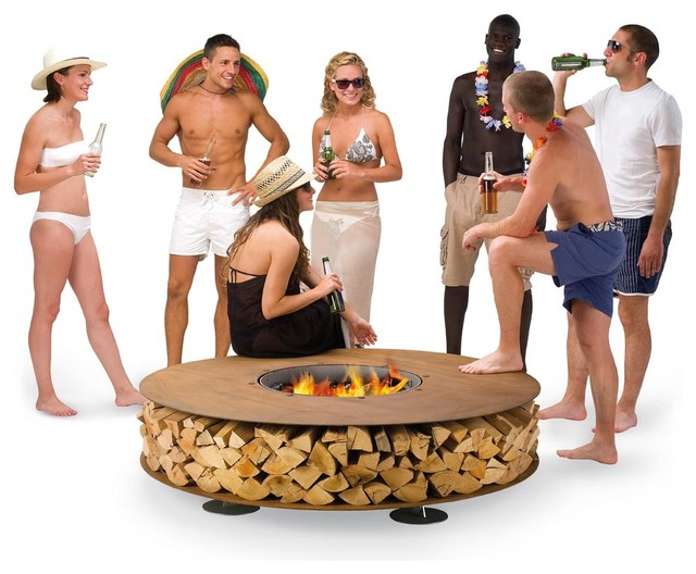 Zero Outdoor Wood Fireplace modern-firepits
