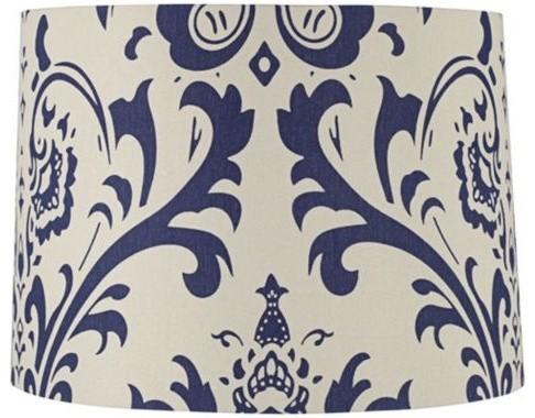 Blue Scroll Canvas Drum Shade farmhouse-lamp-shades