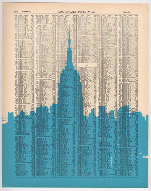 New York City Dark City no5 Book Page Print by Nesta Home eclectic artwork