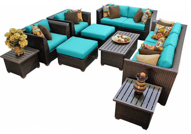 Bermuda 9 Piece Outdoor Wicker Patio Furniture Blue Set