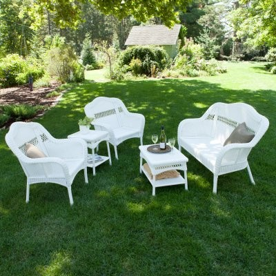 Casco Bay Resin Wicker Conversation Set White Modern Patio Furniture An