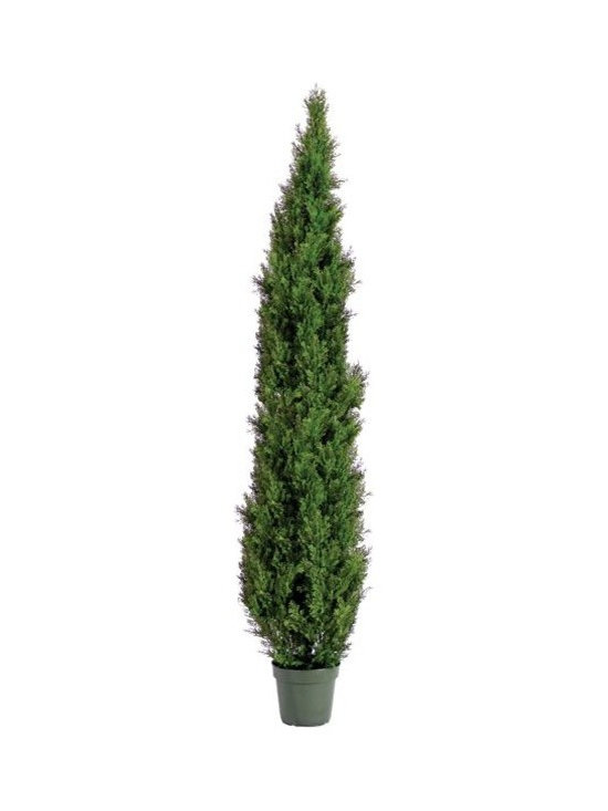 Artificial Outdoor Foliage - This tapered artificial outdoor cedar pine tree is excellent for providing privacy in your outdoor room, around pools and patios and for creating realistic garden environments that do not require watering or maintenance.