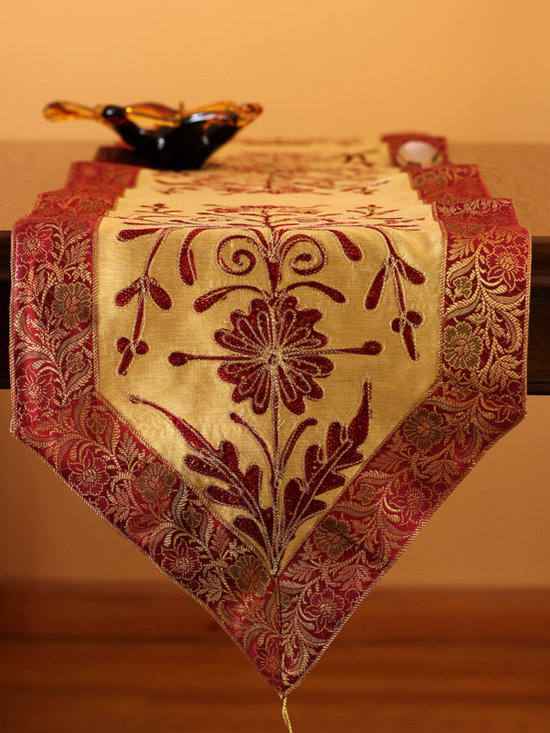 Elegant Table Runners - Unique & floral design table runner. Cherry Latte color. Indian made. Great decor for any table top. Red Beige