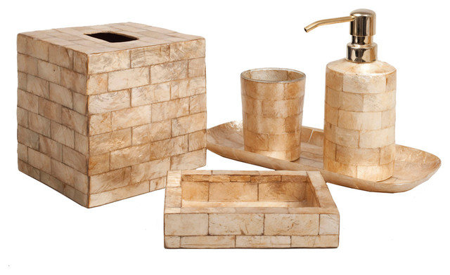 Six piece gold brick capiz bathroom set transitional bath for Gold bathroom accessories sets