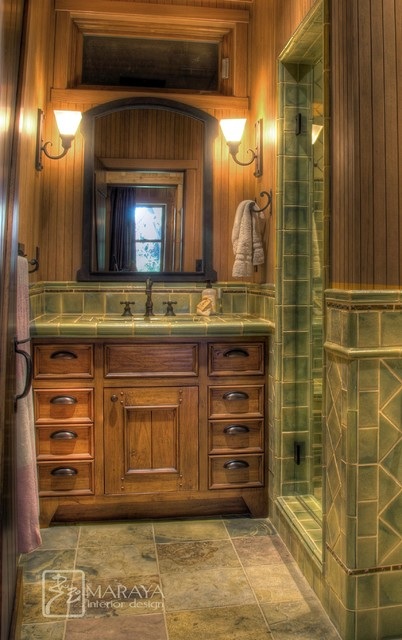 Ranch cabin bath farmhouse bathroom santa barbara for Cabin shower tile ideas