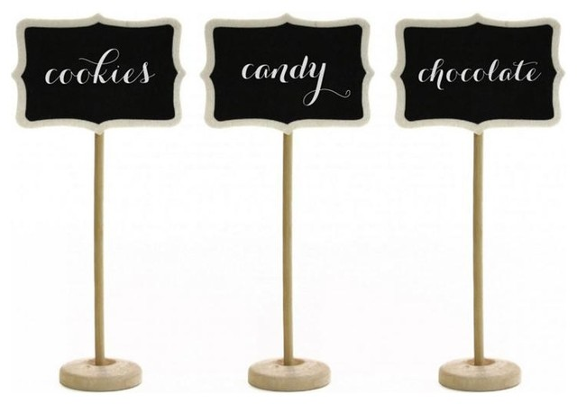 Vintage Wooden Chalkboard Place Card Stands traditional-serveware