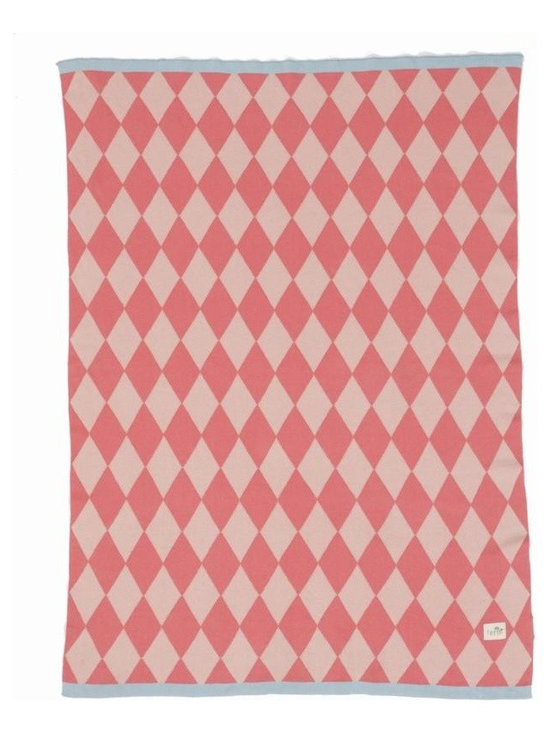 Ferm Living Happy Harlequin Blanket - The perfect way to keep your baby warm is the Knitted Blanket by Ferm Living.  Made of 100% cotton, the jacquard knit inverts the colors, so each side looks different.