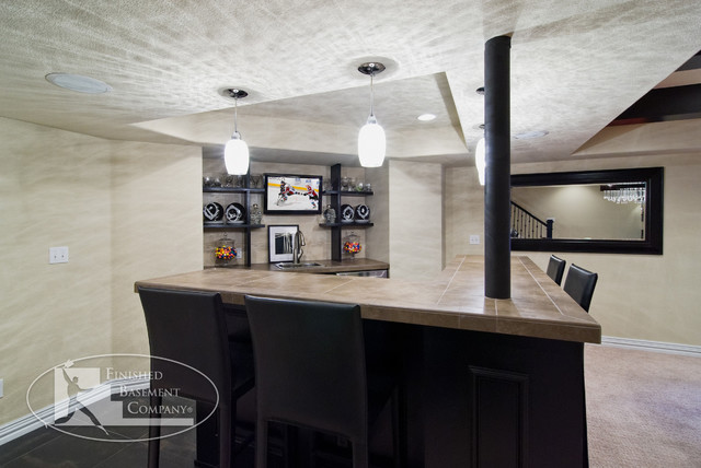 Basement Walk Behind Bar Modern Basement Denver By