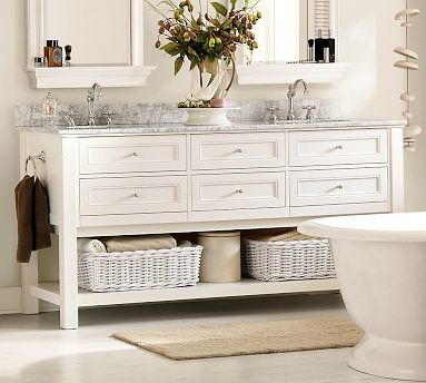 Classic Double Sink Console, White With Satin Nickel Finish