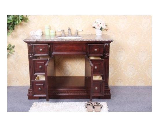 "KCK Bath Vanities - Sink Chests & Cabinets - WP5440C 48"" Single Sink Dark Cherry Vanity with Soft Close Doors - 48"" Single sink dark cherry vanity with soft close doors - No faucet"