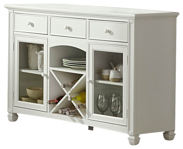 Homelegance Kentucky Park Server with Wine Storage in White - Traditional - Buffets And ...