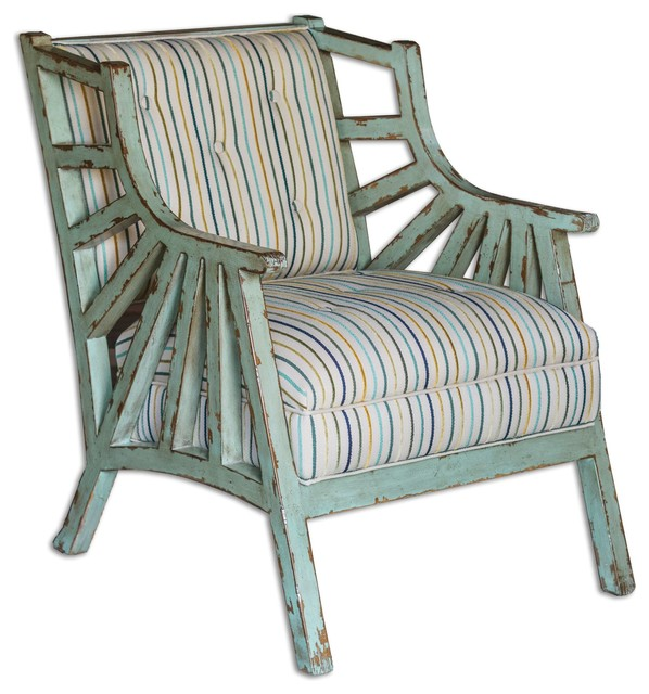 Uttermost Surata Exposed Wood Accent Chair Beach Style
