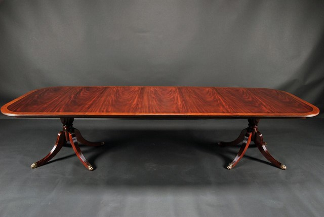 Duncan Phyfe Dining Room Table, Mahogany Double Pedestal Table (AP 79 139 SE) - Traditional ...