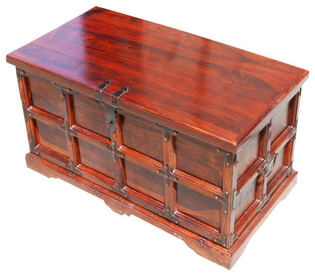 claret wooden storage chest and trunk traditional. Black Bedroom Furniture Sets. Home Design Ideas
