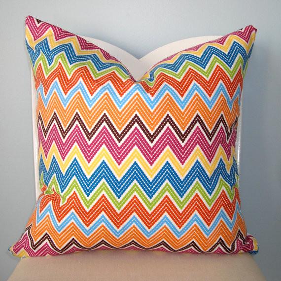 Chevron Colorful Zigzag Stripe Decorative Pillow By Pillow Plush - Eclectic - Decorative Pillows ...