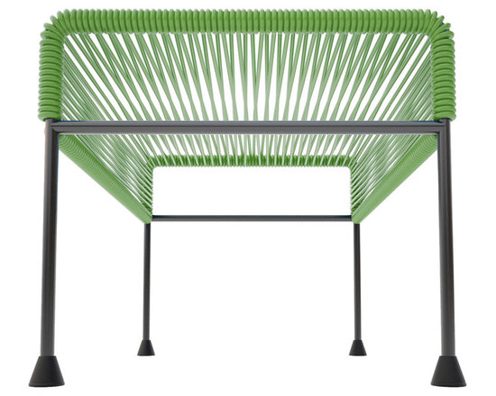 Adam Ottoman, Cactus Weave On Black Frame - Sleek woven vinyl makes this coffee table stand out from the crowd. It's a great option for indoor or outdoor use since the vinyl is UV protected and the metal base is galvanized. The only challenge would be deciding on your favorite color combination.