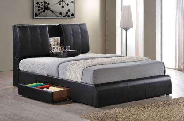 Acme Furniture - Kofi Black PU Finish California King Bed with Sleigh Table - 21 - Contemporary ...